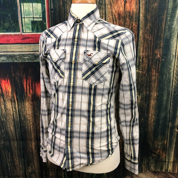 Long Sleeve Western Style with Pearl Snaps Plaid Flannel Shirt for Men
